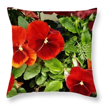 Throw Pillow featuring the photograph Brick Pansies by VLee Watson