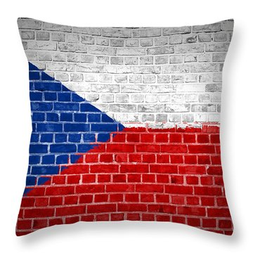 Brick Wall Czech Republic Throw Pillow by Antony McAulay