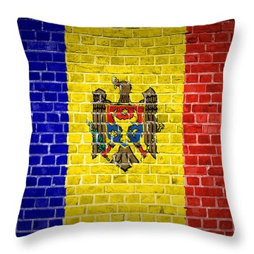 Brick Wall Moldova Throw Pillow by Antony McAulay