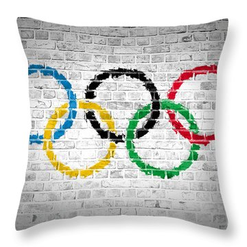 Brick Wall Olympic Movement Throw Pillow by Antony McAulay