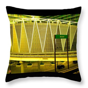 Brickell Station In Miami Throw Pillow