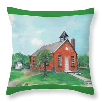Bricktown School Throw Pillow by Mary Armstrong