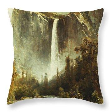 Bridal Falls Throw Pillow by Thomas Hill