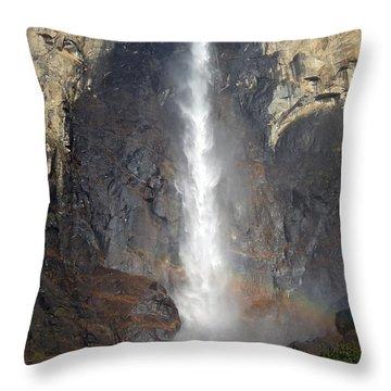 Bridalveil Falls Double Rainbow Throw Pillow