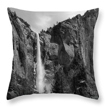 Bridalveil Falls In B And W Throw Pillow by Bill Gallagher