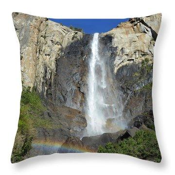 Bridalveil Falls With Rainbow Throw Pillow