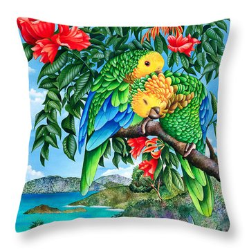 Bride And Grooming Throw Pillow by Carolyn Steele