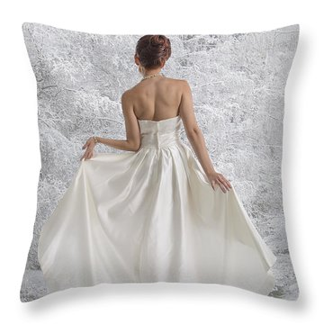 Bride In The Snow Throw Pillow by Angela A Stanton