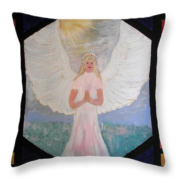 Angel In Prayer  Throw Pillow
