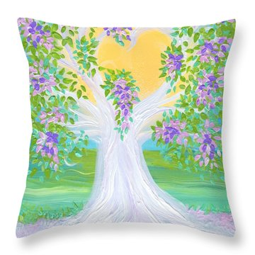 Bride's Tree Purple Throw Pillow by First Star Art