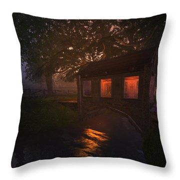 Throw Pillow featuring the digital art Brideshead Creek Bridge by Kylie Sabra