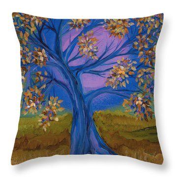 Bridesmaid Tree Blue Throw Pillow by First Star Art