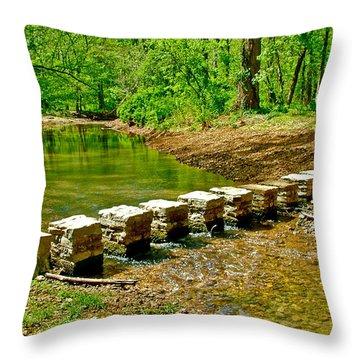 Bridge Across Colbert Creek At Mile 330 Of Natchez Trace Parkway-alabama Throw Pillow