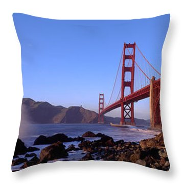 Bridge Across The Bay, San Francisco Throw Pillow by Panoramic Images