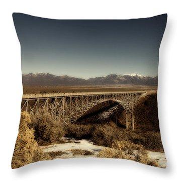 Bridge Across The Rio Grande River-arizona V2 Throw Pillow
