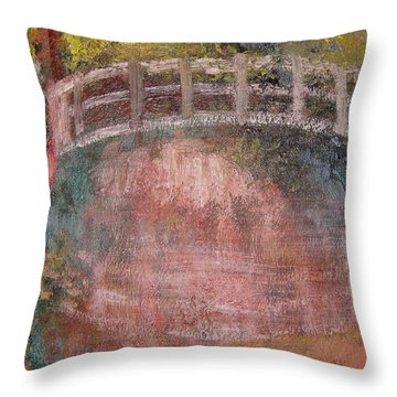 Throw Pillow featuring the mixed media Bridge After Monet by Diana Riukas