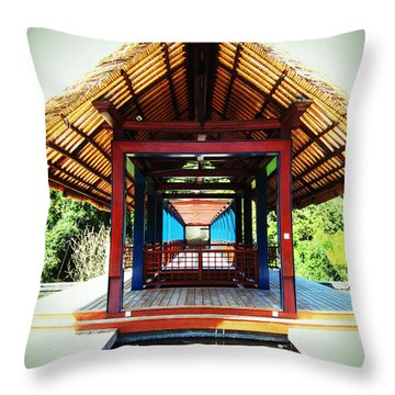 Bridge At Ubud Throw Pillow