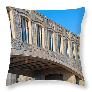 Bridge At Virginia Tech Throw Pillow