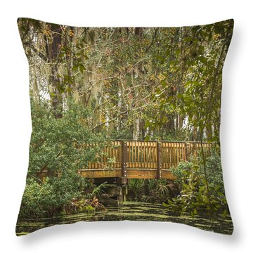 Bridge Beside The Pond Throw Pillow