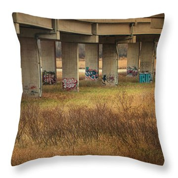 Throw Pillow featuring the photograph Bridge Graffiti by Patti Deters