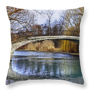Bridge In The December Sun Throw Pillow