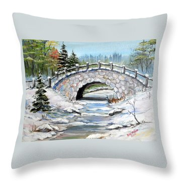 Bridge In Winter Throw Pillow