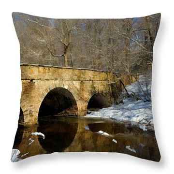 Bridge In Woods Throw Pillow