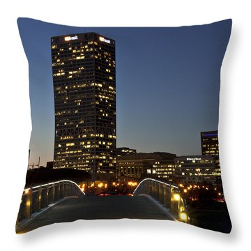 Throw Pillow featuring the photograph Bridge Into Milwaukee by Deborah Klubertanz