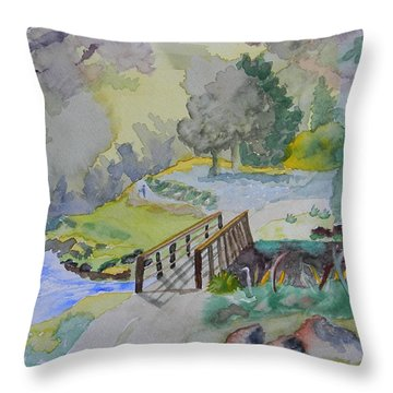 Bridge Near Enniskerry Ireland  Throw Pillow by Warren Thompson