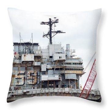 Uss Forrestal Bridge Throw Pillow
