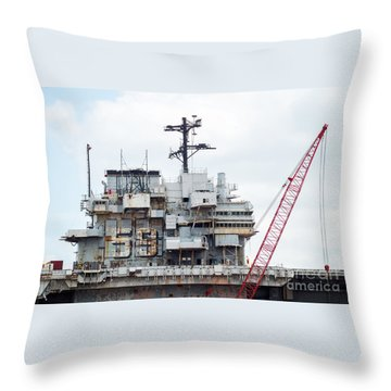 Uss Forrestal Bridge Throw Pillow