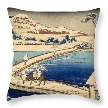 Bridge Of Boats At Sawa Throw Pillow by Hokusai Katasushika