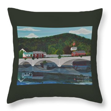 Bridge Of Flowers Throw Pillow by Sally Rice
