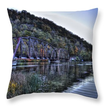 Throw Pillow featuring the photograph Bridge On A Lake by Jonny D