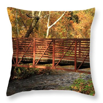 Bridge On Big Chico Creek Throw Pillow by James Eddy