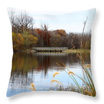 Bridge On Lake Remembrance Throw Pillow by Ellen Tully