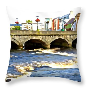 Bridge On The Garavogue Throw Pillow