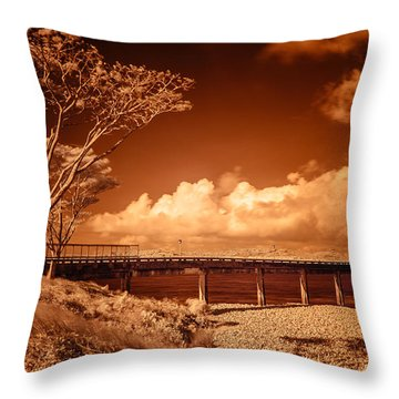 Bridge On The Lake Throw Pillow