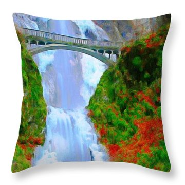 Bridge Over Beautiful Water Throw Pillow