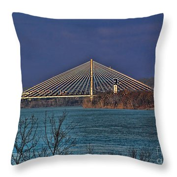 Throw Pillow featuring the photograph Bridge Over Blue Water by B Wayne Mullins