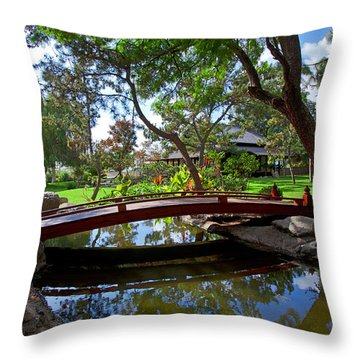 Throw Pillow featuring the photograph Bridge Over Japanese Gardens Tea House by Jerry Cowart