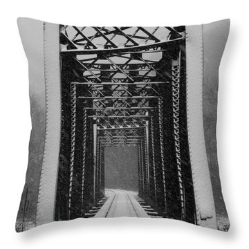 Bridge Over Oil Creek Throw Pillow by E B Schmidt