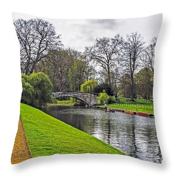 Bridge Over River Cam Throw Pillow