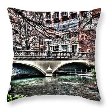 Throw Pillow featuring the photograph Bridge Over San Antonio River by Deborah Klubertanz