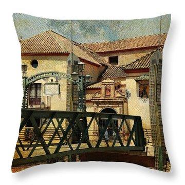 Bridge Over The River Guadalmedina In Malaga I. Spain Throw Pillow by Jenny Rainbow