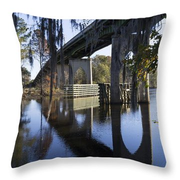 Bridge Over The Waccamaw On An Autumn Afternoon Throw Pillow