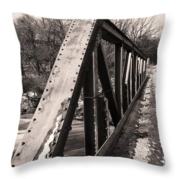 Throw Pillow featuring the photograph Bridge Railing by J L Zarek