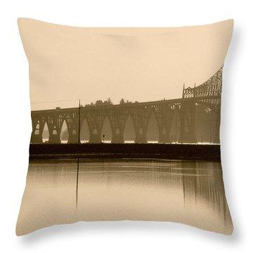 Bridge Reflection In Sepia Throw Pillow