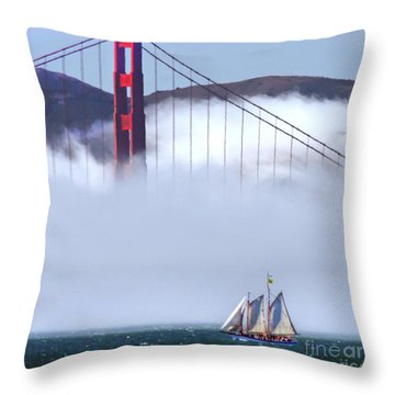 Bridge Sailing Throw Pillow