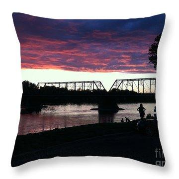 Bridge Sunset In June Throw Pillow